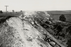 This photo displays a Manor Township excavation site for the A&S. The pictured railroad tracks are temporary narrow gauge used to haul 1.3 million cubic yards of debris. Harry P. Stoner photograph, Columbia Historic Preservation Society